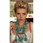 Turquoise Beads on Scarlet Johansson