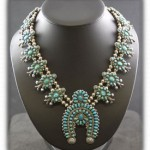 zuni petit point squash blossom necklace
